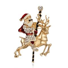 Cartoon Santa Claus Enamel Piercing Brooch Pin Collar Decor Badge Corsage Jewelry Women Xmas Gift Santa Claus +elk
