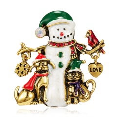 Christmas Snowman Brooch Pin Crystal Santa Claus Xmas Party Gift Xmas snowman Puppy