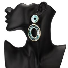 Winding hand-woven raffia geometric stud earrings Green