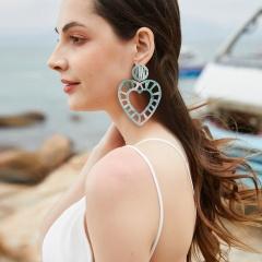 Love gradient winding hand-woven raffia geometric stud earrings ER18Y1139-1