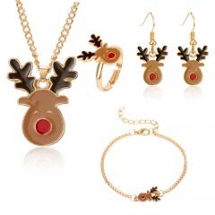 Christmas Jewelry Necklace Earrings Ring Bracelet Set Christmas deer head