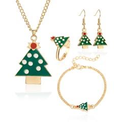 Christmas Jewelry Necklace Earrings Ring Bracelet Set Christmas tree