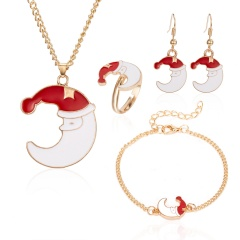 Christmas Jewelry Necklace Earrings Ring Bracelet Set Christmas moon