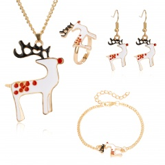 Christmas Jewelry Necklace Earrings Ring Bracelet Set Christmas elk