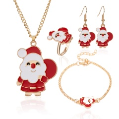 Christmas Jewelry Necklace Earrings Ring Bracelet Set Santa Claus