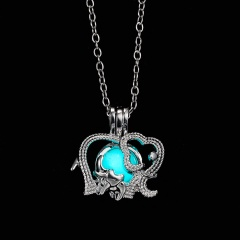 Elephant hollow luminous Pendant Necklace NC18Y0796