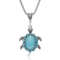 1PC Gorgeous Vintage Natural Stone Rhinestone Turtle Pendant Alloy Link Chain Necklace For Women's Fashion Jewelry Gift Turtle