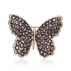 Rinhoo 1pc Rhinestone Acrylic Brooch Coffee Gold Butterfly Leaf Branch Flower Plant Pin Brooch Suit Lapel Badge Jewelry Gift Butterfly