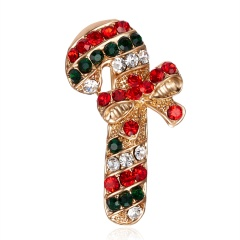 Christmas Cane Bow Rhinestone Christmas Brooch BC18Y0979