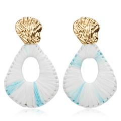 Bohemian Lafite Drop Earrings for Women Geometric Statement Earring Raffia Straw Handmade Earrings Fashion Jewelry Female Brincos Blue