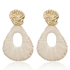Bohemian Lafite Drop Earrings for Women Geometric Statement Earring Raffia Straw Handmade Earrings Fashion Jewelry Female Brincos Beige
