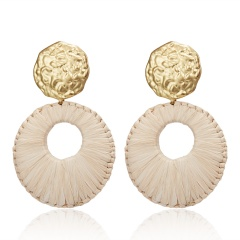 New Fashion Round Pendant Earrings Exaggerated Woven Large Earrings Lafite Weaving Earrings for Women Wedding Jewelry Beige