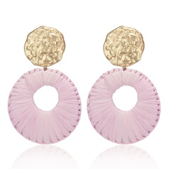 New Fashion Round Pendant Earrings Exaggerated Woven Large Earrings Lafite Weaving Earrings for Women Wedding Jewelry Pink