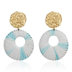 New Fashion Round Pendant Earrings Exaggerated Woven Large Earrings Lafite Weaving Earrings for Women Wedding Jewelry Blue