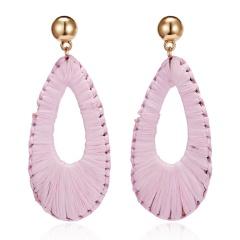 New Korea Handmade Wooden Straw Woven Rattan Vine Braid Geometric Large Water drop Long Dangle Earrings For Women Girl Pink