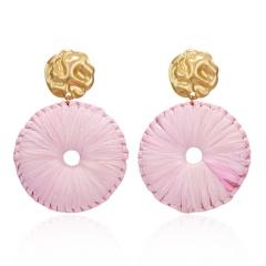 Bohemian Handmade Raffia Tassel Round Drop Earrings For Women Ethnic Gradient Multicolor Large Fringe Statement Earrings Pink