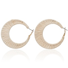 Fashion Charm Female Earrings Unique Wrap hand-woven Raffia Geometric C-shaped Earrings Colorful Jewelry Hangle Earrings 2019 Beige