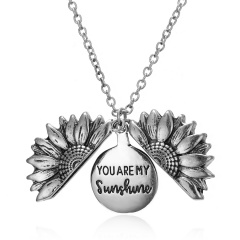 You Are My Sunshine Sunflower Mom Mother Pendant Necklace Gift Silver