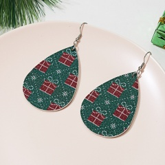 New Fashion Retro Ethnic Christmas Leather Earring Creative Sparkly Oval Teardrop Pendant Fashion Earring for Women Jewelry Gift Christmas gift box