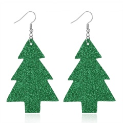New Fashion Retro Ethnic Christmas Leather Earring Creative Sparkly Oval Teardrop Pendant Fashion Earring for Women Jewelry Gift Green christmas tree