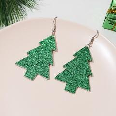 New Bohemian Red Green Glitter Pine Christmas Tree Earrings Female Geometry Faux Leather Earring Jewelry Accessories Green 1