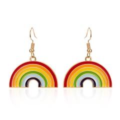 Cute Rainbow Dangle Earrings For Women Pendientes Jewelry Simple Girls Brincos Colorful LGBT Rainbow Charm Drop Earrings Rainbow