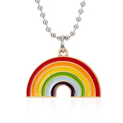 Rinhoo Rainbow Necklace for Women Multicolored Necklace Pendants Fashion Jewelry Rainbow Long Chain Necklaces Cute Sweater Chain Rainbow