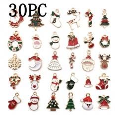 DIY 30Pcs Christmas Charm Enamel Mixed Pendant Craft Making Jewelry Accessories 30pcs
