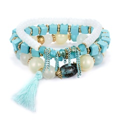 3PCS/SET Boho Bracelets & Bangles Women Beaded Bracelet With Colorful Gem Long Wrap Bracelet for Women BLUE