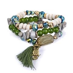 Crystal Bead Bracelets For Women Bohemian Animal Owl Bracelet Female Jewelry Tassel Natural Stone Charms Wristband Pulseira Feminina GREEN