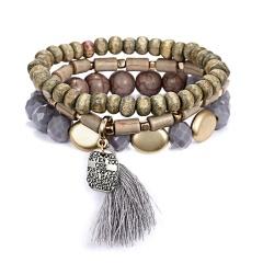 Bohemian Ethnic Multilayer Vintage New Beads Bracelets Boho Statement Wooden Bead Bar Tassel Pearl Charms Wrap Bracelet Bangles GREY