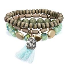 Bohemian Ethnic Multilayer Vintage New Beads Bracelets Boho Statement Wooden Bead Bar Tassel Pearl Charms Wrap Bracelet Bangles GREEN