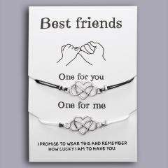 2PCS Best Friends Couples Bracelets Set For Women Girl Men Infinite Love Heart Turtle Compass Bracelet 2pcs/set Wish Jewelry LETTER 8 HEART