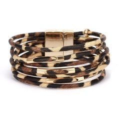 Leopard Multi-layer Leather Ladies Magnetic Bracelet Wholesale Brown