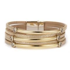 019 Fashion Leopard Leather Bracelets For Women Bracelets & Bangles Multilayer Geometric Magnetic Buckle Wrap Bracelet Jewelry GOLD