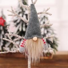 1pc Santa Claus Pendant Faceless Doll Gift Doll Christmas Decoration Gray