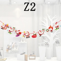 1PC Christmas Ceiling Decoration Ornaments Cartoon Hanging Pull Flag Z2