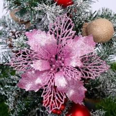 1pc Christmas Tree Green Onion Powder Hollow Garland Ornament Pink