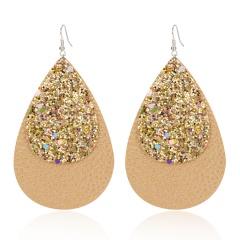 New Teardrop Faux Leather Dangle Earrings for Women Girl Fashion Glitter Waterdrop Leather Earrings Flash PU Drop Earring Gold