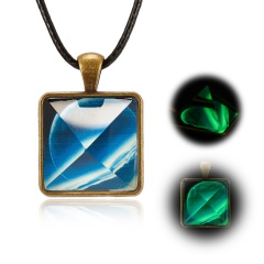 Solar System Necklace Pendant Planet Glow In Dark Galaxy Double Sided Glass Dome Pyramid-Planet