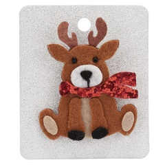 Merry Christmas Cute Snowman House Elk Antler Star Christmas Tree Hat Crutch Brooches for Kids Xmas Felt Cloth Pin Badges deer