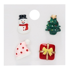 Rinhoo 1SET Colorful Christmas Snowman Hat Gift Box Shape Acrylic Brooch With Cardboard For Women's Fashion Jewelry Gift Christmas set 6