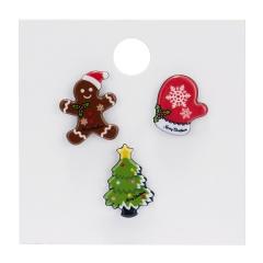 Rinhoo 1SET Colorful Christmas Snowman Hat Gift Box Shape Acrylic Brooch With Cardboard For Women's Fashion Jewelry Gift Christmas set 3