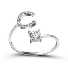 A-Z 26 Letters Initial Tiny Rings Adjustable Opening Ring Name Alphabet Party Jewelry Rhinestone English Letters Finger Rings C