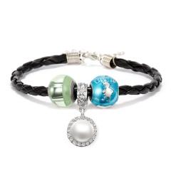 Family Luminous Pearl Rhinestone Glass Pendant Leather Bracelet blue