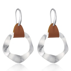 Vintage Antique Silver Earring Geometric Handmade Minimalist Drop Earring Women Ethnic Leather Earrings Jewelry Christmas Gift Irregular