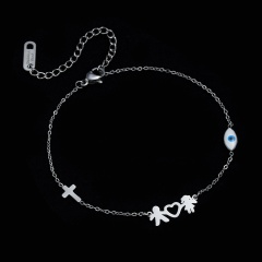 Stainless Steel Charm Family Bracelets Mom Dad Daughter Son Kids Boys Girls Cross Bracelet Silver Color Friends Couple Jewelry COUPLE