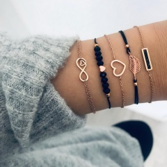 5PCS/SET Bohemian Handmade Heart Tassel Shell Bracelet Sets Women 2019 New Rope Chain Bracelets Jewelry Christmas Gift 5PCS SET
