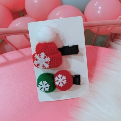 Christmas Snowflake Hat Hair Ball Gift Box Bow Hairpin Set hat