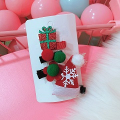 Christmas Snowflake Hat Hair Ball Gift Box Bow Hairpin Set flower